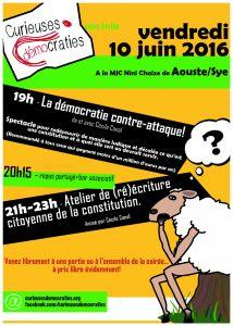 Curieuses démocraties 10 juin MJC à  Aoust