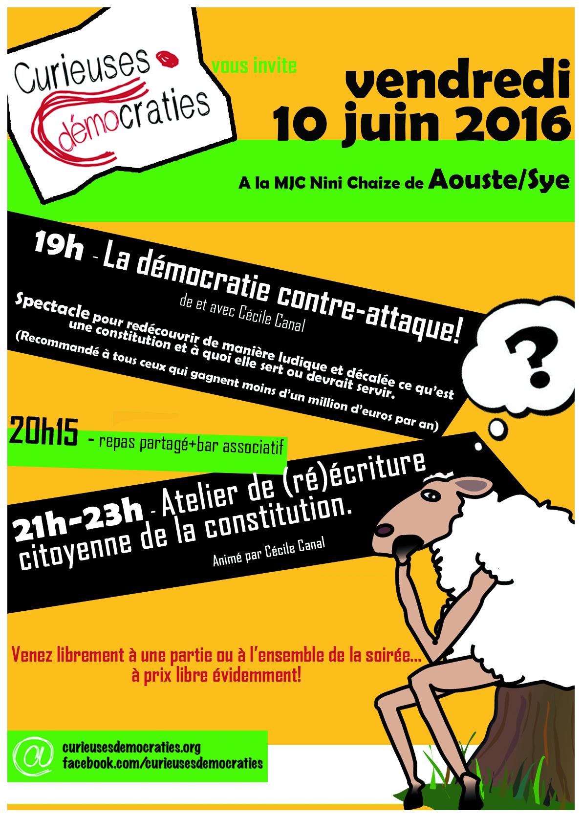 Curieuses Démocraties le 10 juin à la MJC Nini-Chaize.