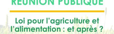 """Réunion publique """"Loi agriculture et alimentation : et après ?"""", lundi 3 décembre 18h00 à l'Espace Cluny de Chabeuil"""